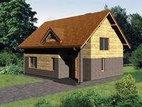 Фасад будинку виконаний дерев яною